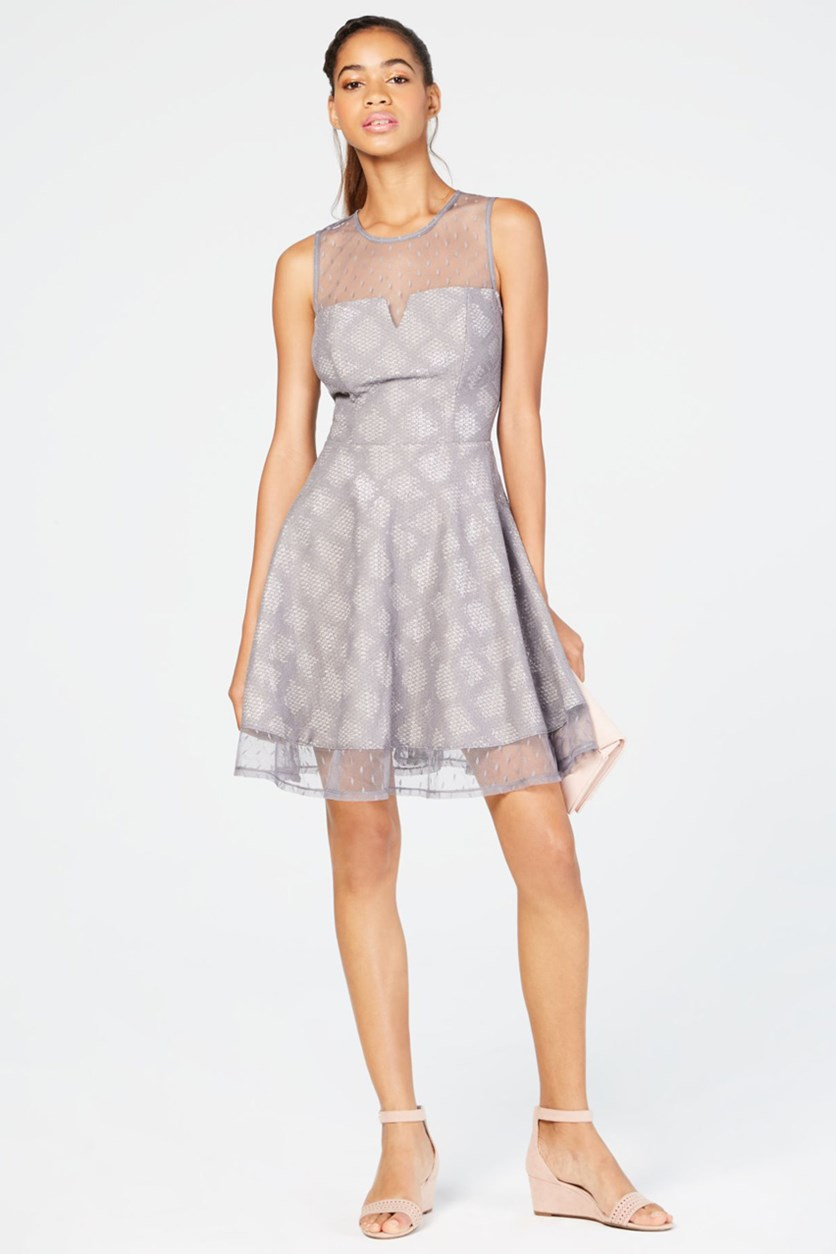 Juniors' Glitter Fit & Flare Dress, Gray Silver