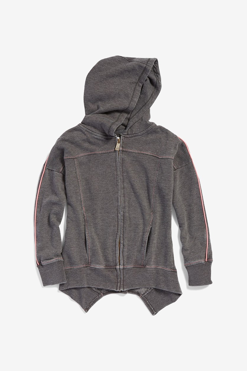 Kids Burnt Out Hi-Low Zip Up Hoodie, Dark Heather Charcoal