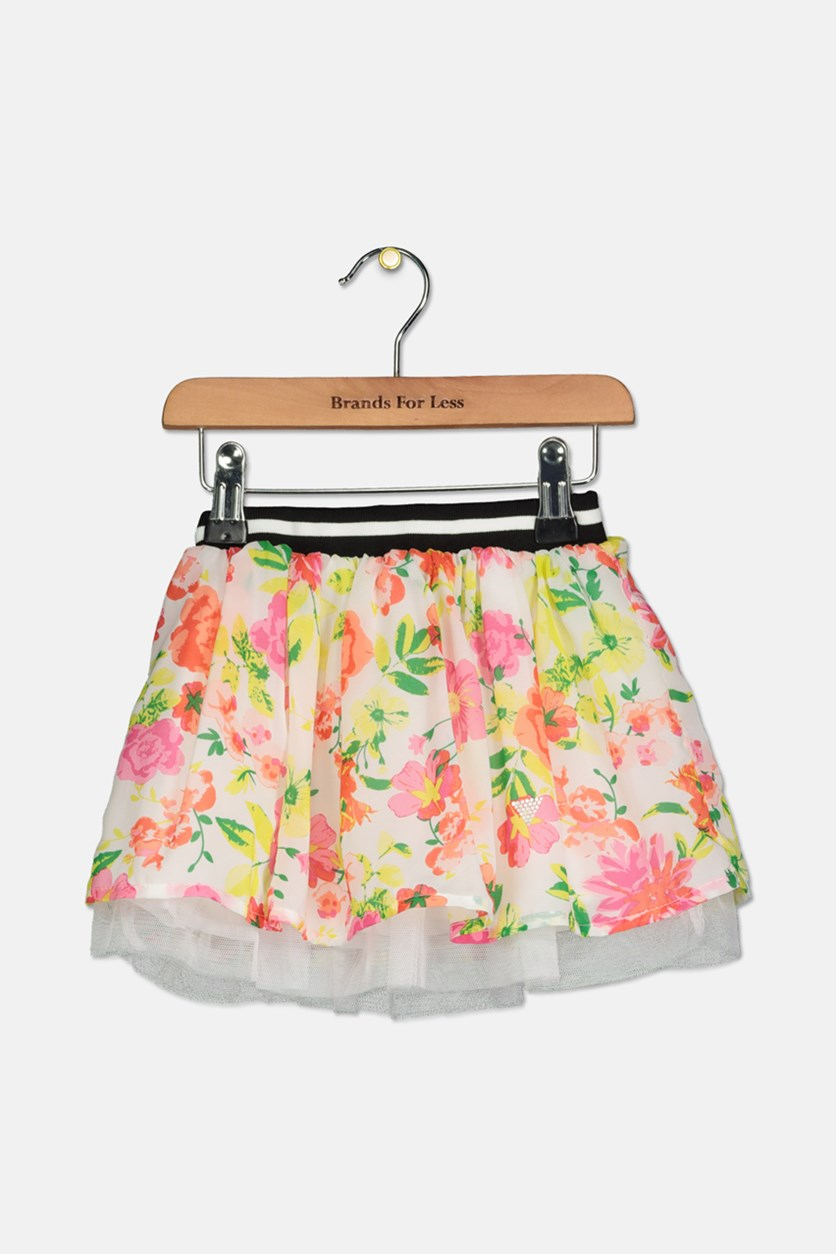 Toddlers Girls Floral Flared Skirt, White/Pink/Yellow