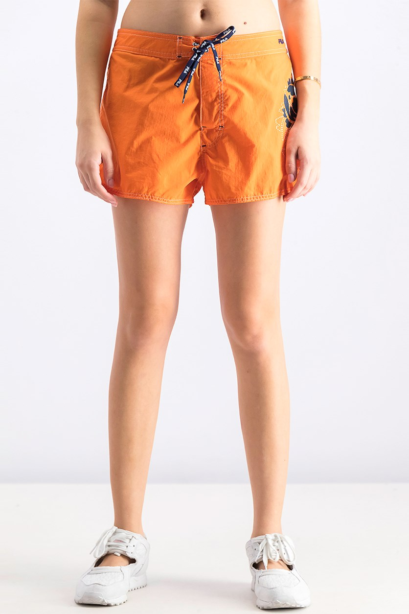 Women's Printed Swim Short, Orange