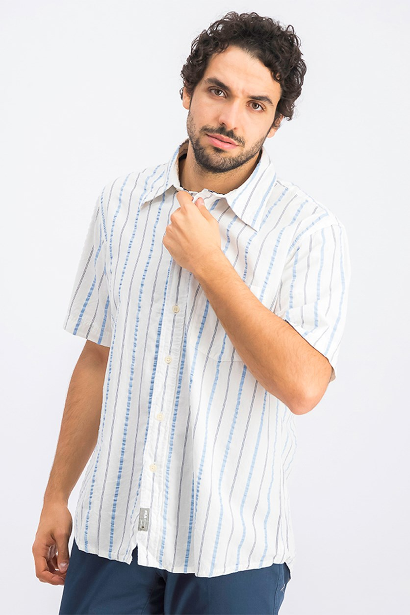 Men's Stripe Casual Shirts, White/Blue