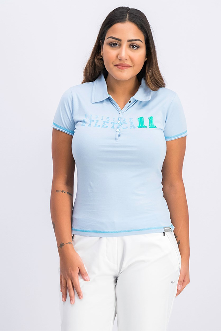 Women's Graphic Polo Shirt, Blue