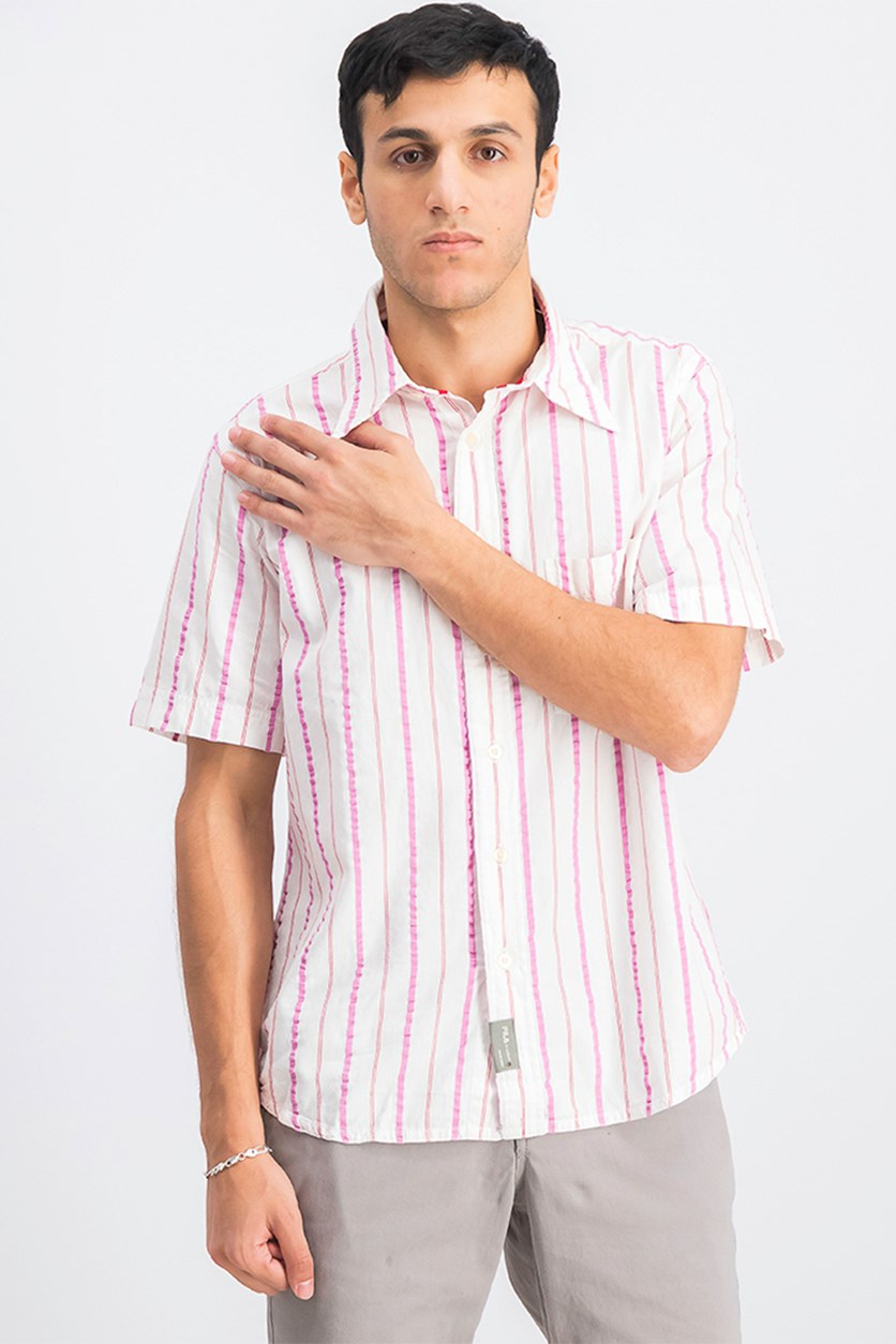 Men's Stripe Casual Shirt, Pink/White