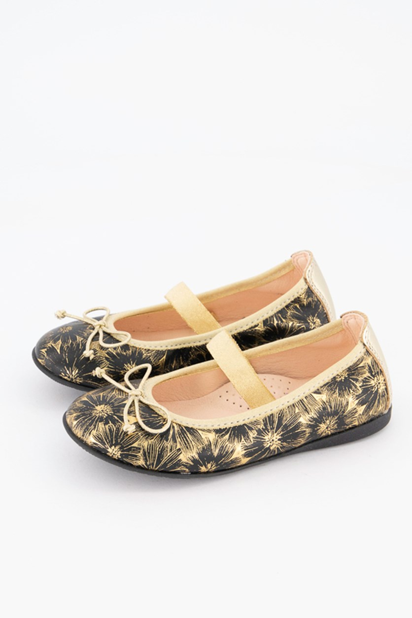 Girls Casual Shoes, Black/Gold Combo