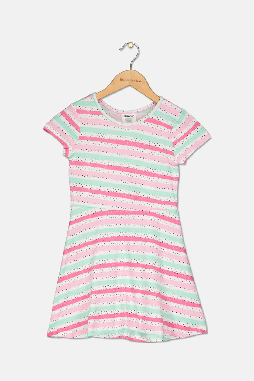 Girls Printed Casual Dresses, Pink Combo