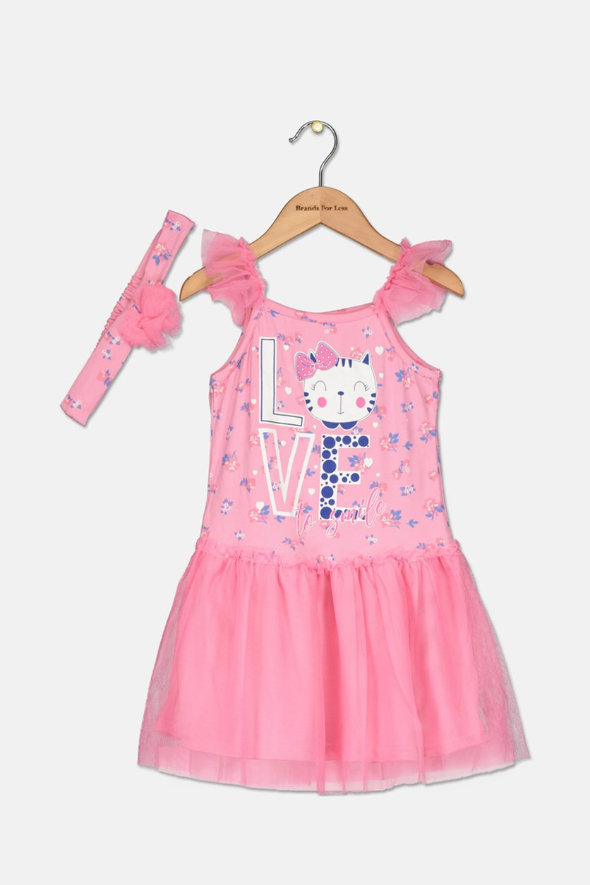 Toddlers Girl's 2Piece Set With Headband Dress, Pink