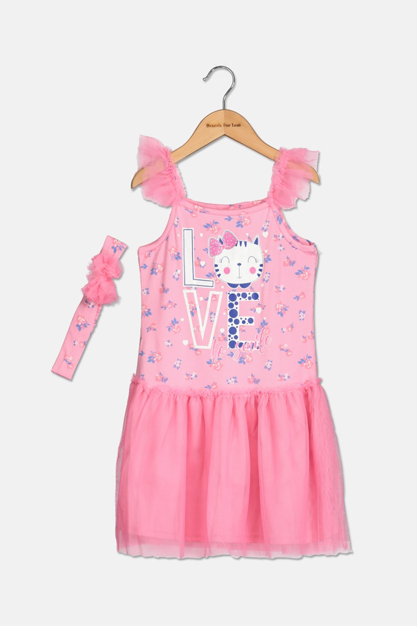 Girl's 2Piece Set With Headband Dress, Pink