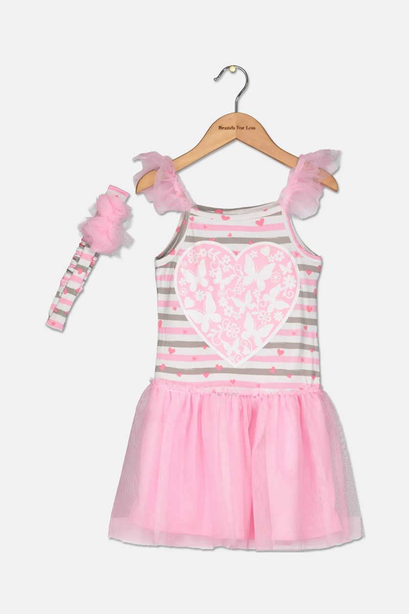 Toddlers Girl's 2Piece Set With Headband Dress, Light Pink