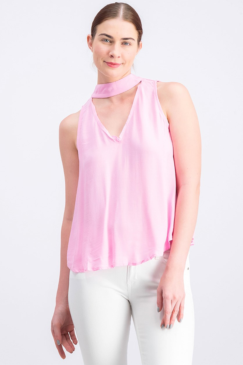 Women's Choker Neck Top, Pink