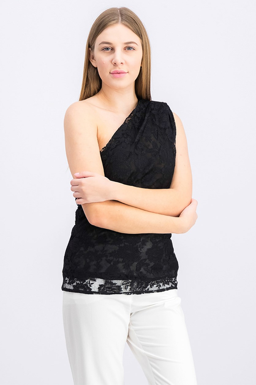 Women's Lace Asymmetrical Top, Black