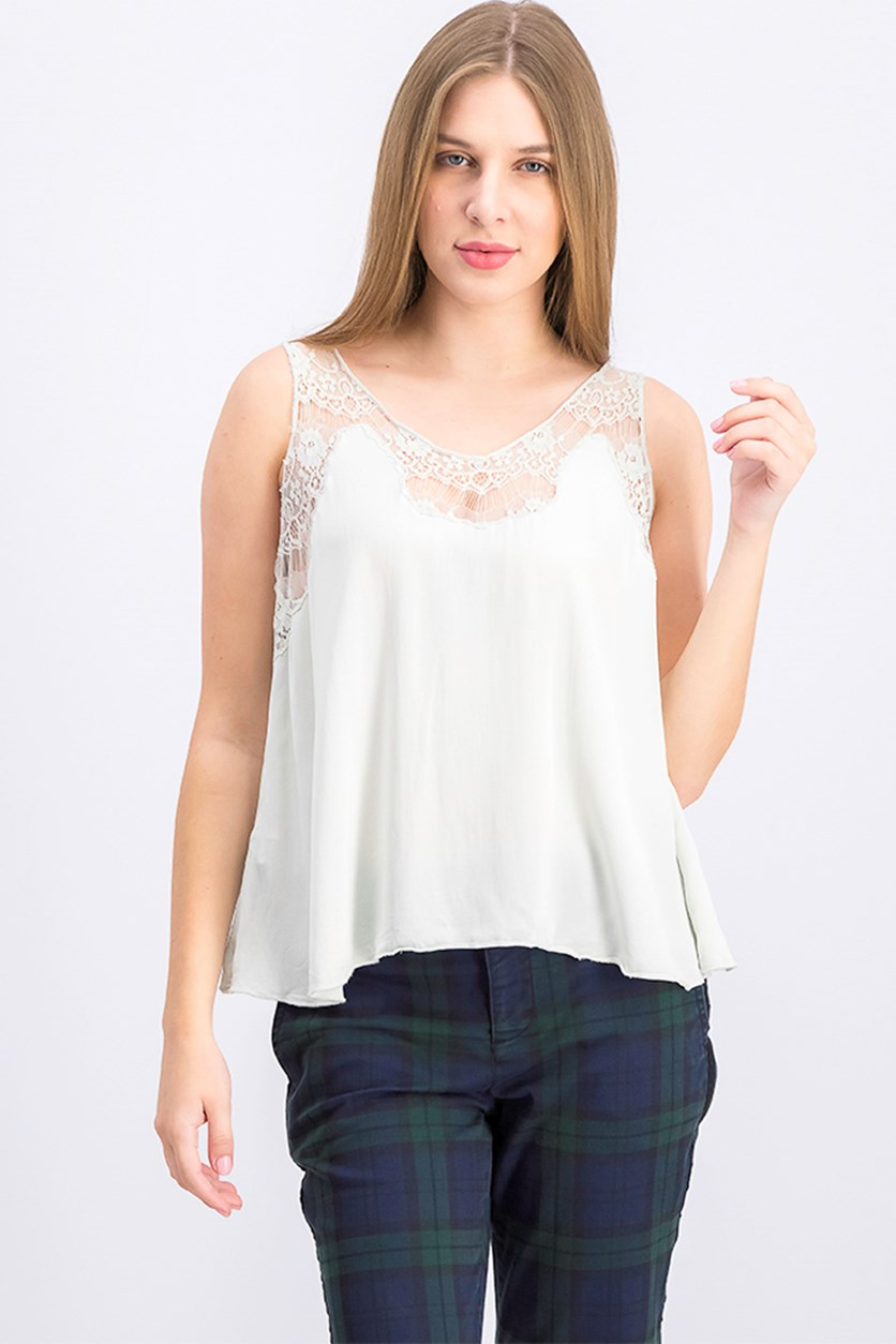 Women's Lace Yoke Top, Green Water