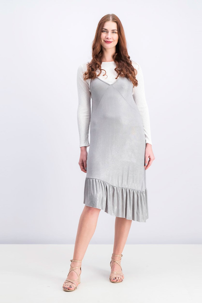 Women's Long Sleeve Inner Dress, Silver/White