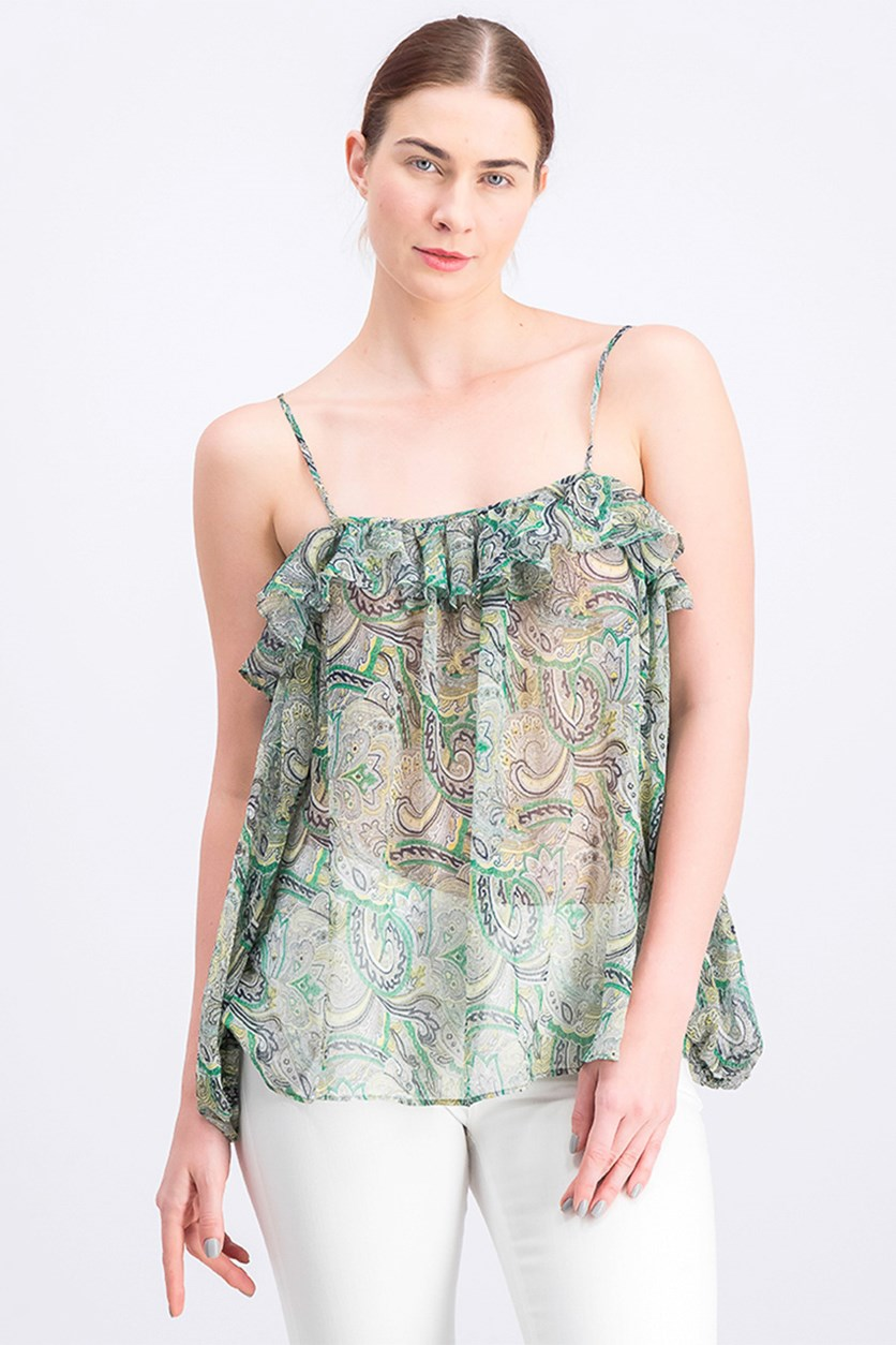 Women's Cold-shoulder Print Blouse, Green Combo
