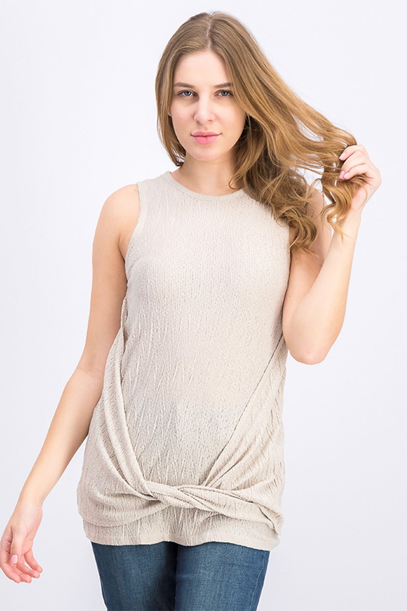Women Knotted Top, Sand