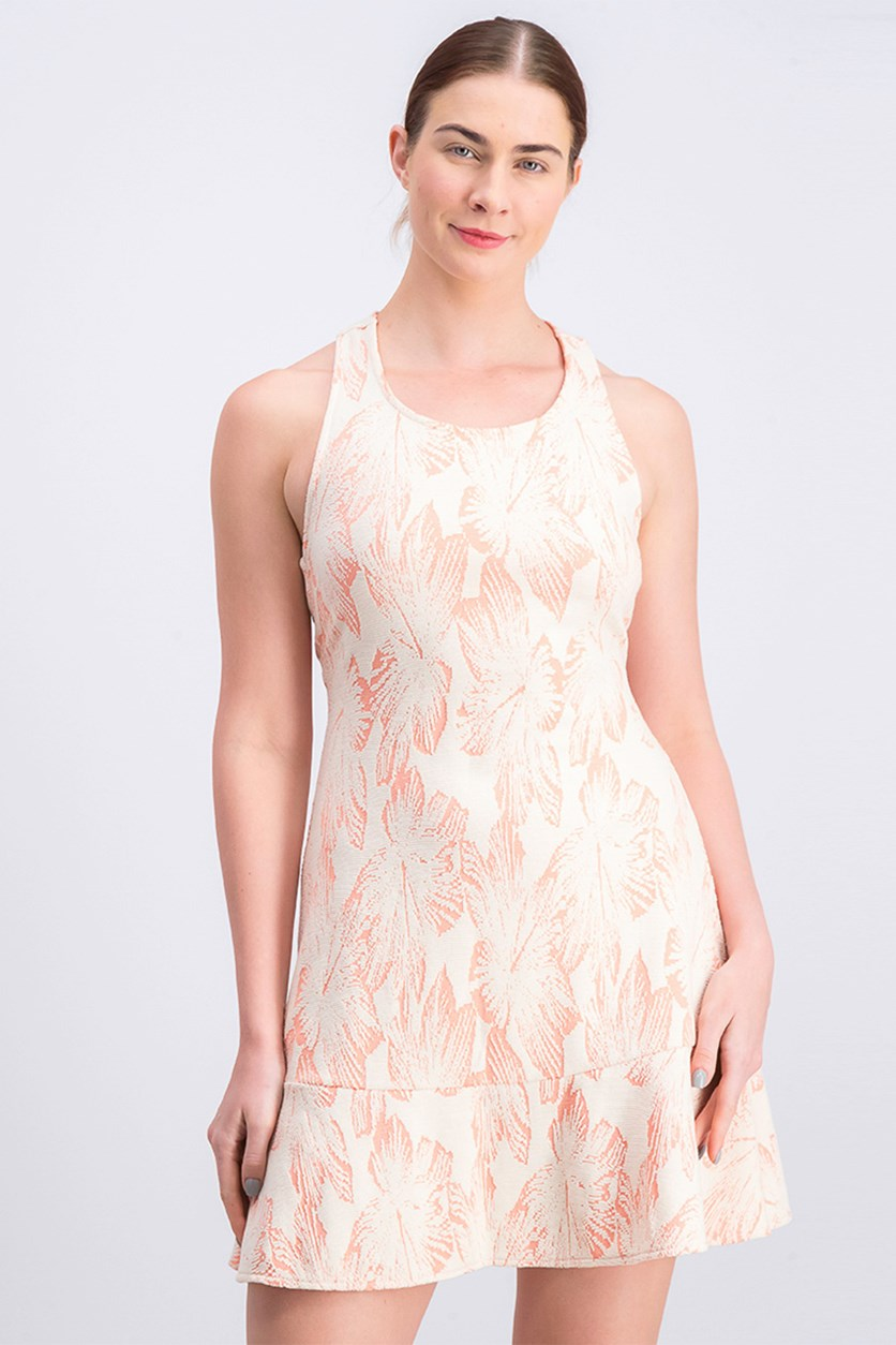 Women's Textured Jacquard Dress, Coral