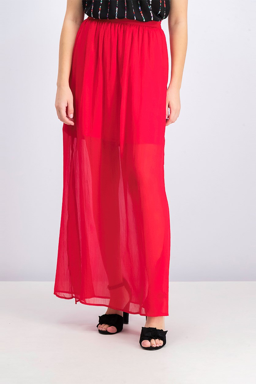 Women's Side Slit Hem Skirt, Red