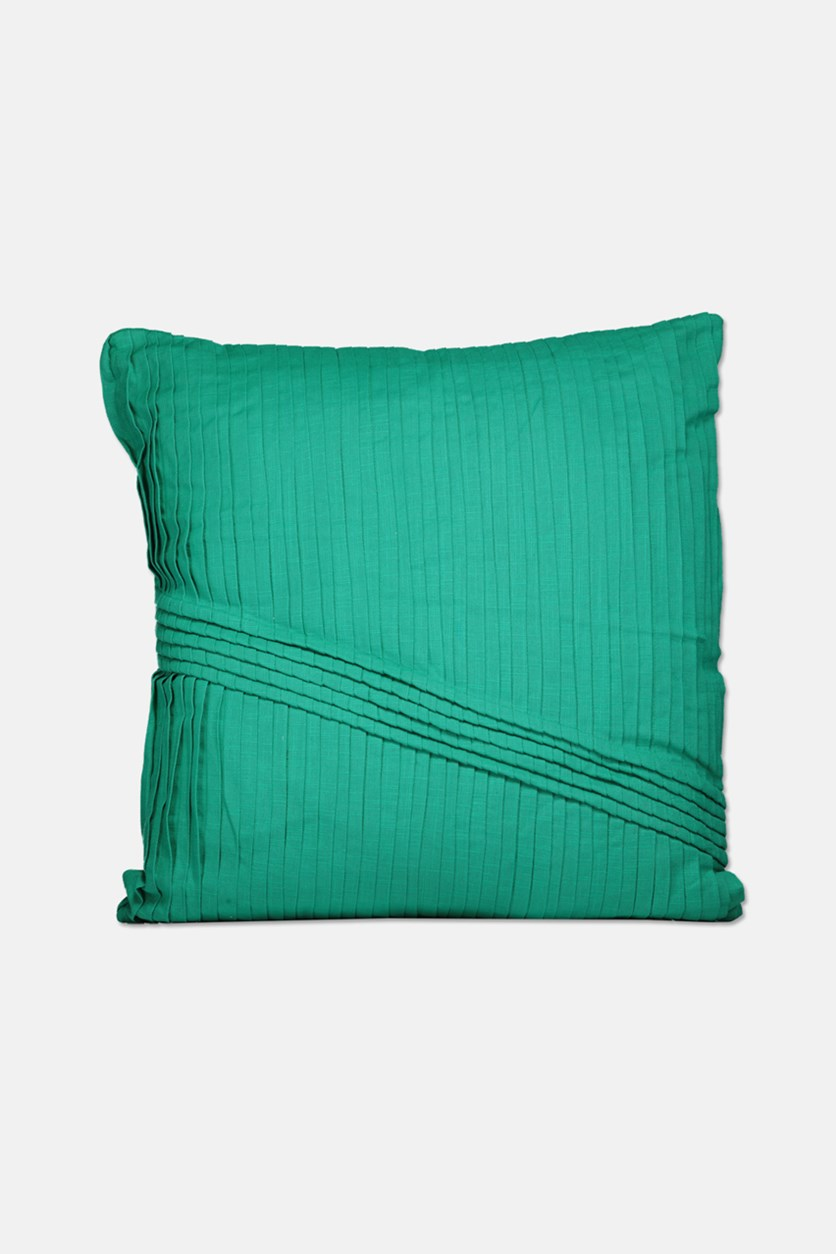 Pleats With Cord Details Pillow 55 x 55 cm, Emerald Green