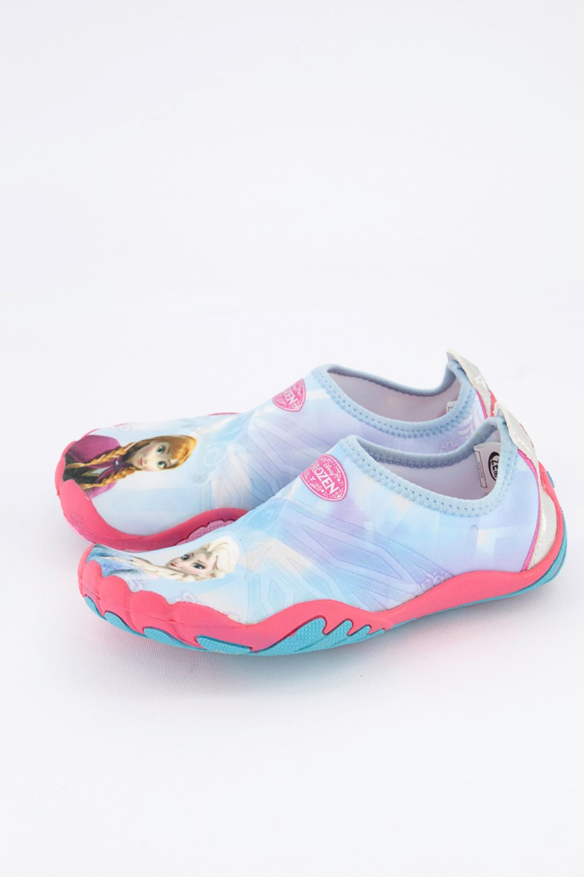 Kids Girls Frozen Pull On Shoes, Light Blue/Pink