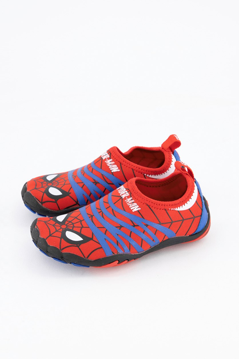 Toddler Boy's Spiderman Printed Pull On Shoes, Red/Blue/Black