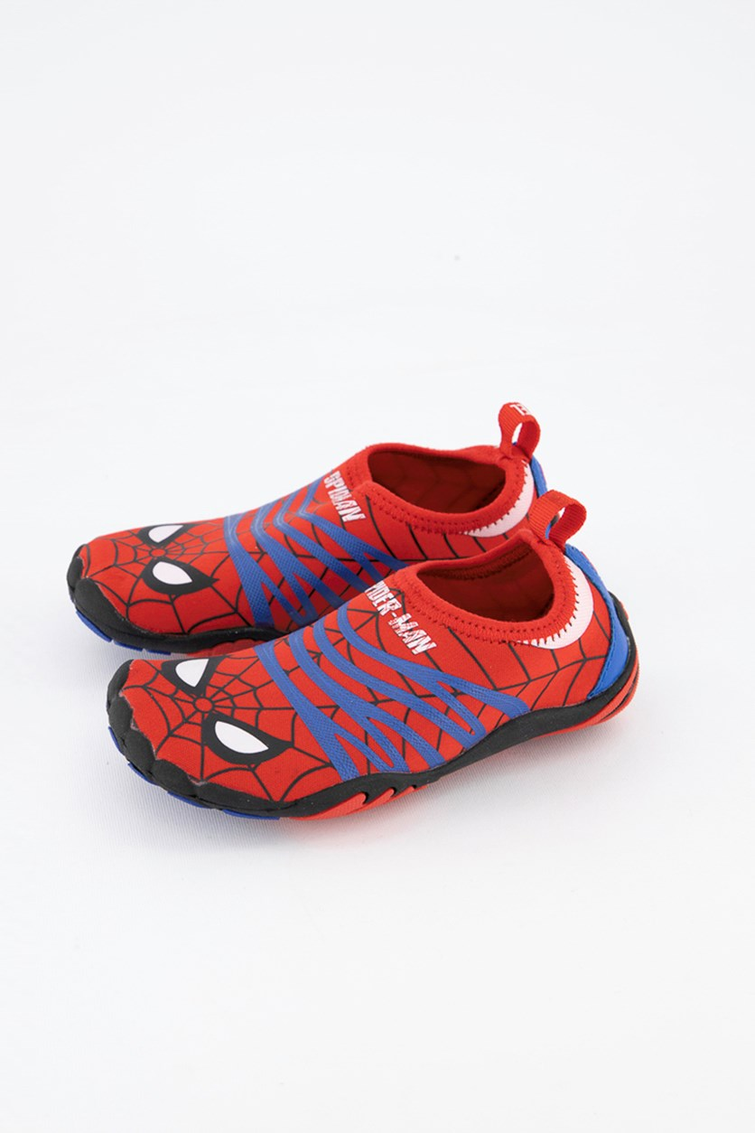 Kids Boys Spiderman Printed Slip On Shoes, Red/Blue/Black