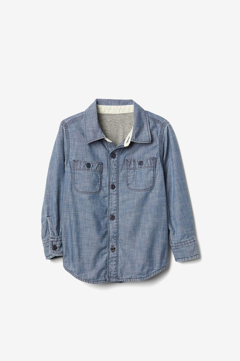 Little Boy's Long Sleeve Shirt, Heather Blue