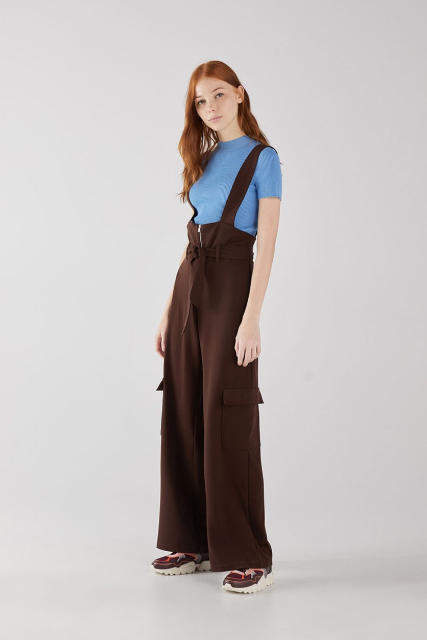 Women's Dungarees With Cargo Pocket, Dark Brown