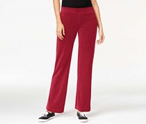 Style & co. Petite Pull-On Velour Pants, Prussian Red