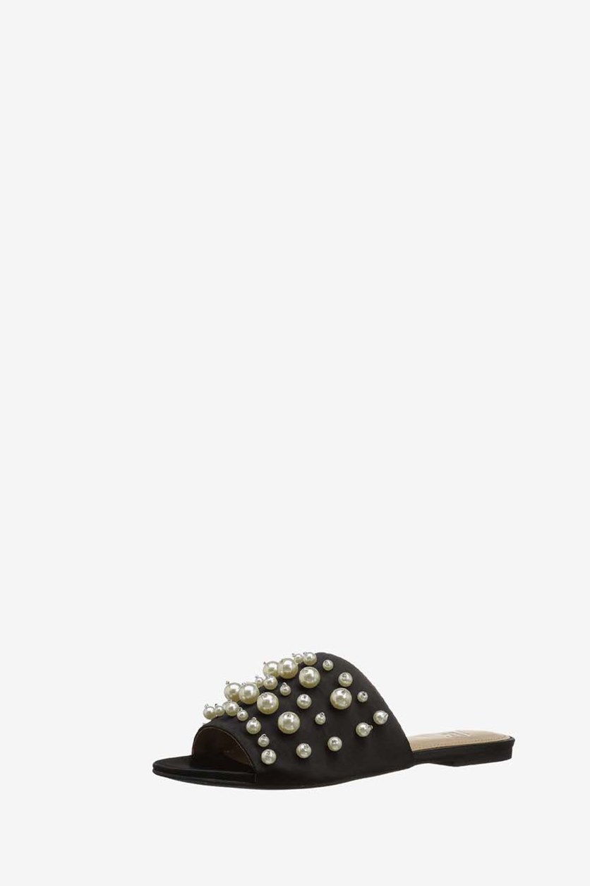 Women's Faris Flat Slide Sandal with Pearl, Black