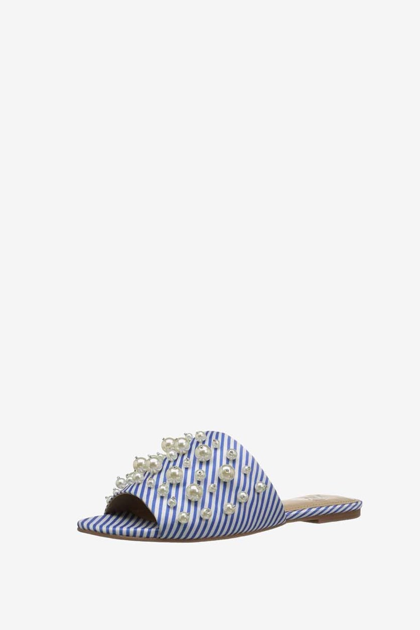 Womens Faris Flat Slide Sandal with Pearls, Cielo Blue