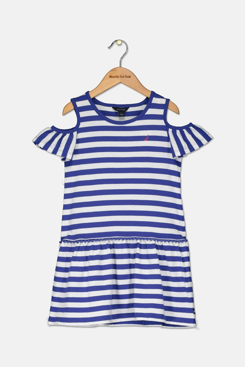 Kids Girls' Stripe Cold-Shoulder Dress, Royal Blue