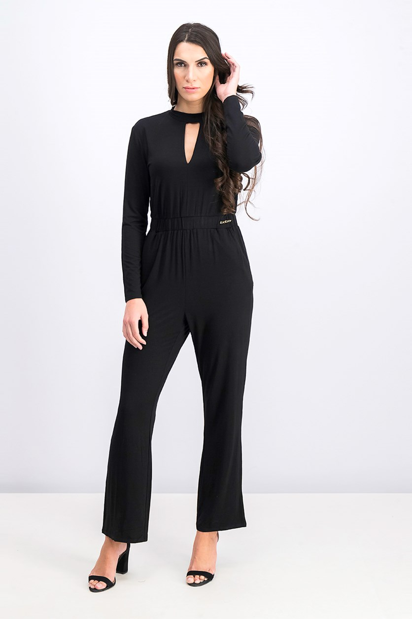 Keyhole Slit Long Sleeve Jumpsuit, Jet Black