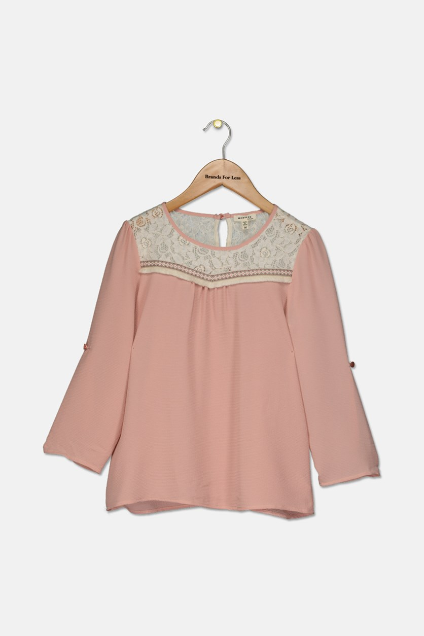 Big Girls Lace-Trim Top, Blush