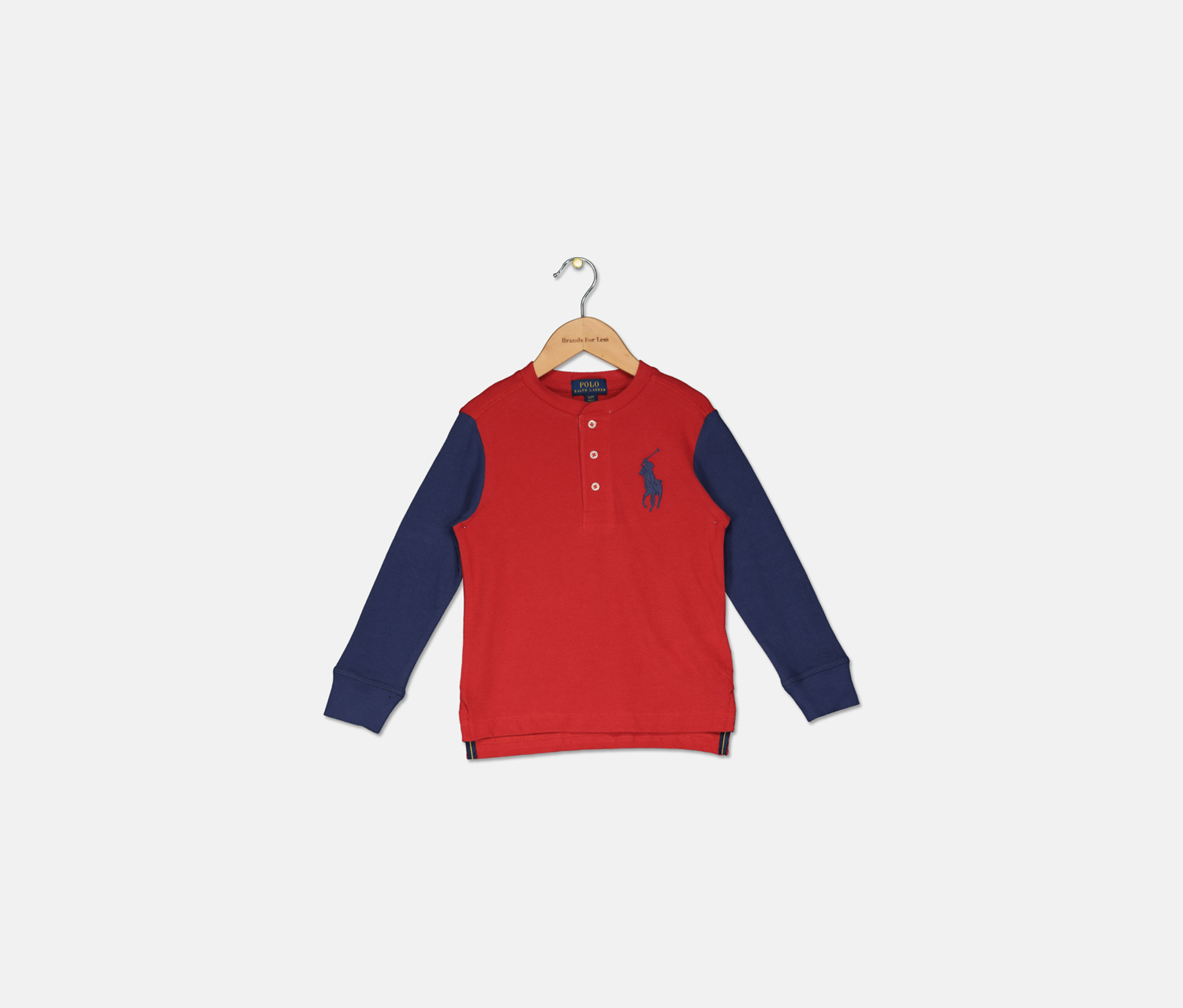 Boys' Big Pony Henley Shirt, Red/Navy
