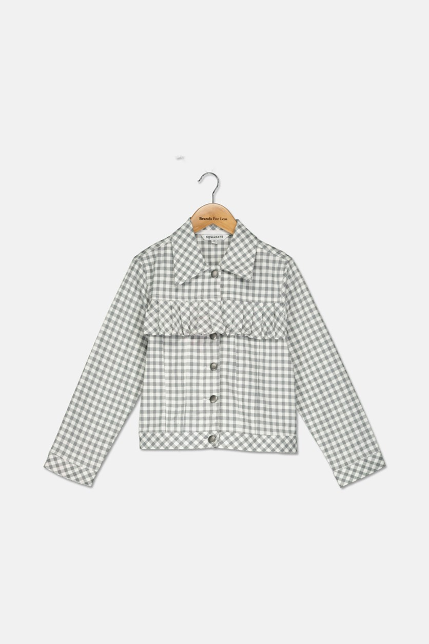 Lace-up Back Gingham Jacket, Grey/White