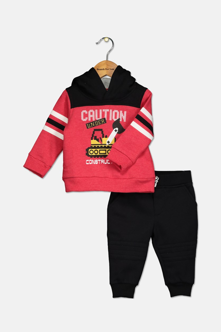 Baby Boys 2-Pc. Graphic-Print Hoodie & Jogger Pants Set, Black/Red