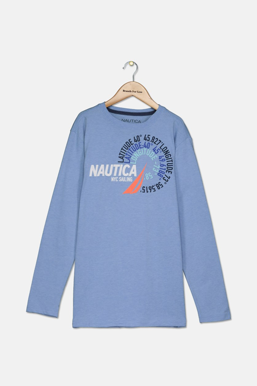Big Boys' Latitude Long Sleeves Tee, Corn Blue