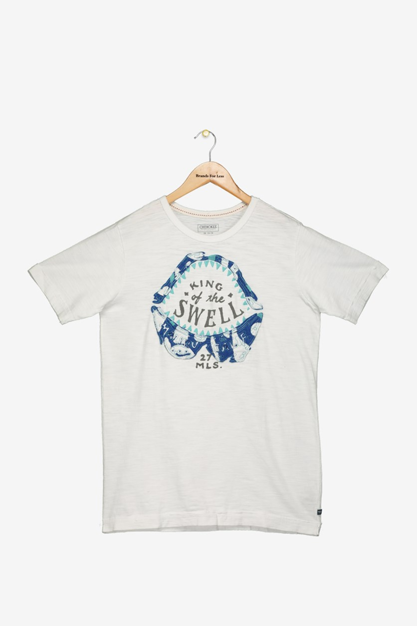 Boys King of the Swell Surf Graphic T-Shirt, White