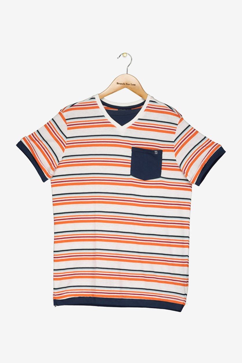 Big Boys Stripe V-Neck Pocket Tee, Pumpkin