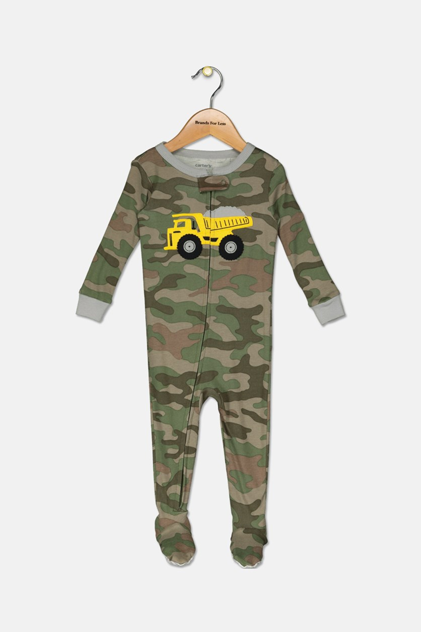Toddler Boy's Truck Camouflage Sleepwear, Green/Olive