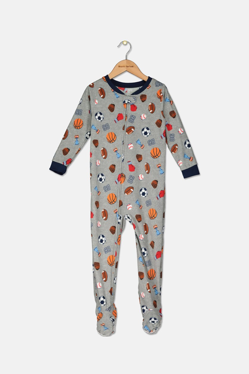 Toddler Boys' 1-Piece Footed Pajamas,  Gray Combo