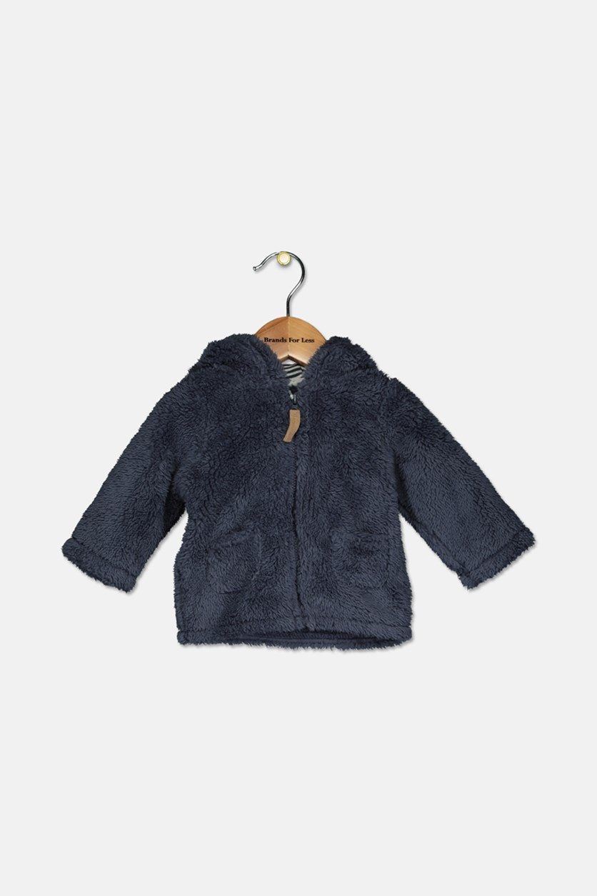 Baby Boy Ears Hooded Sherpa Jacket, Navy