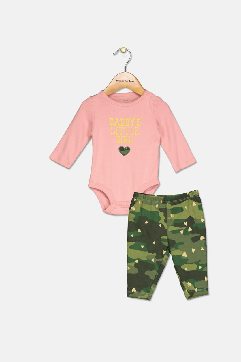 Baby Girls 2-Pc. Cotton Daddy's Girls Bodysuit & Camo-Print Pants Set, Pink/Olive