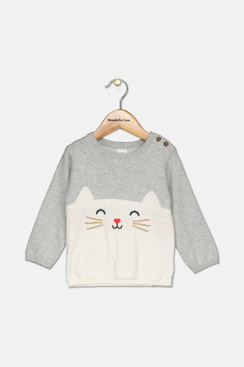 Baby Girls Cotton Cat Sweater, Light Gray