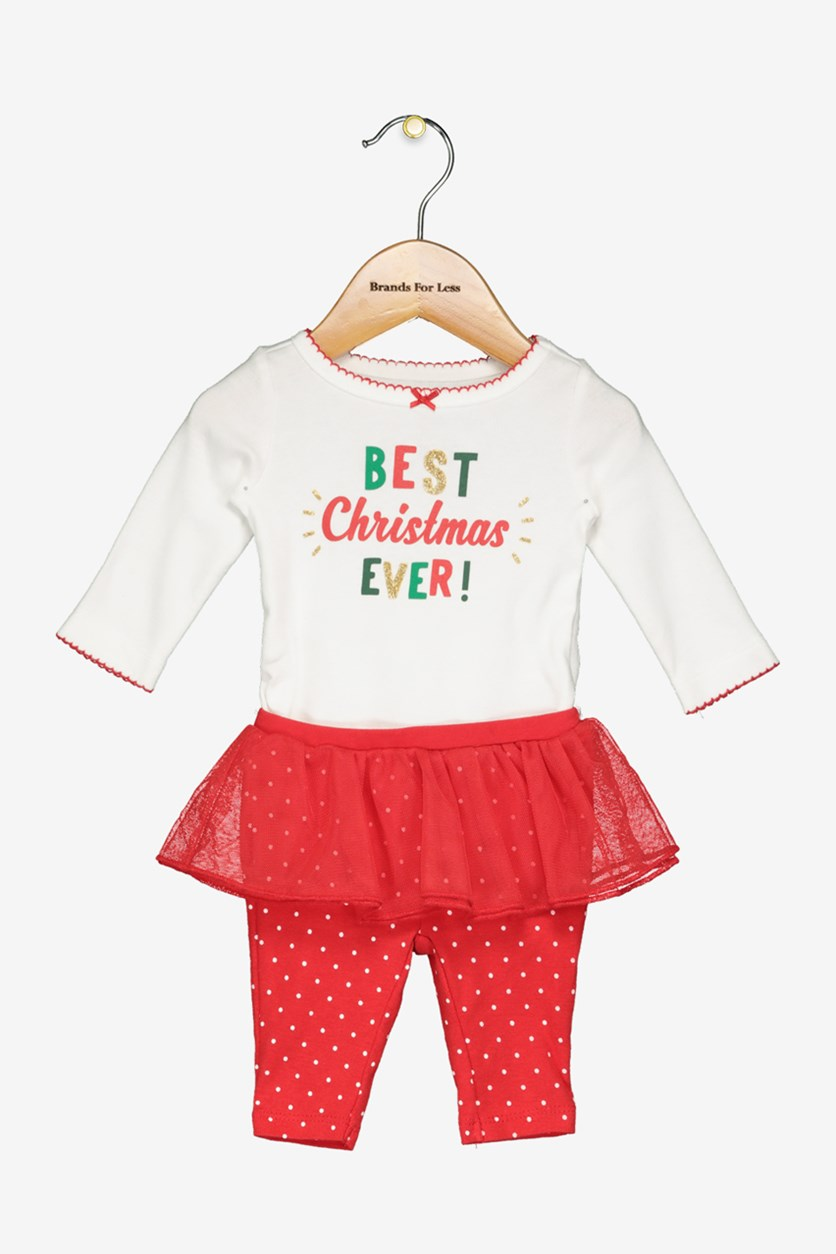 Best Christmas Ever Leggings Set, White/Red