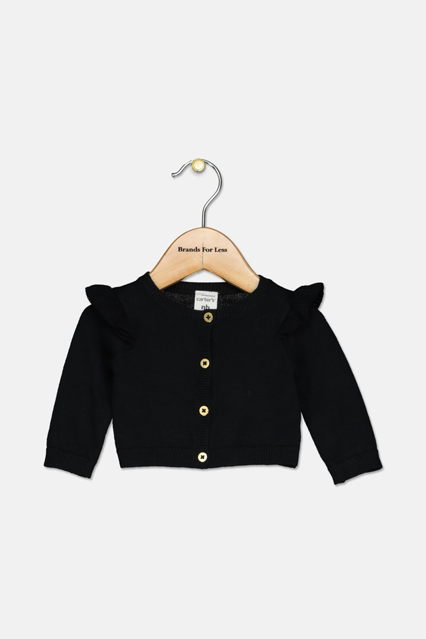 Baby Girls Ruffle Cotton Cardigan, Black