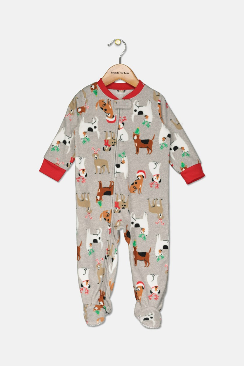 Infant Boys' Christmas Holiday Dogs Coverall, Grey Combo
