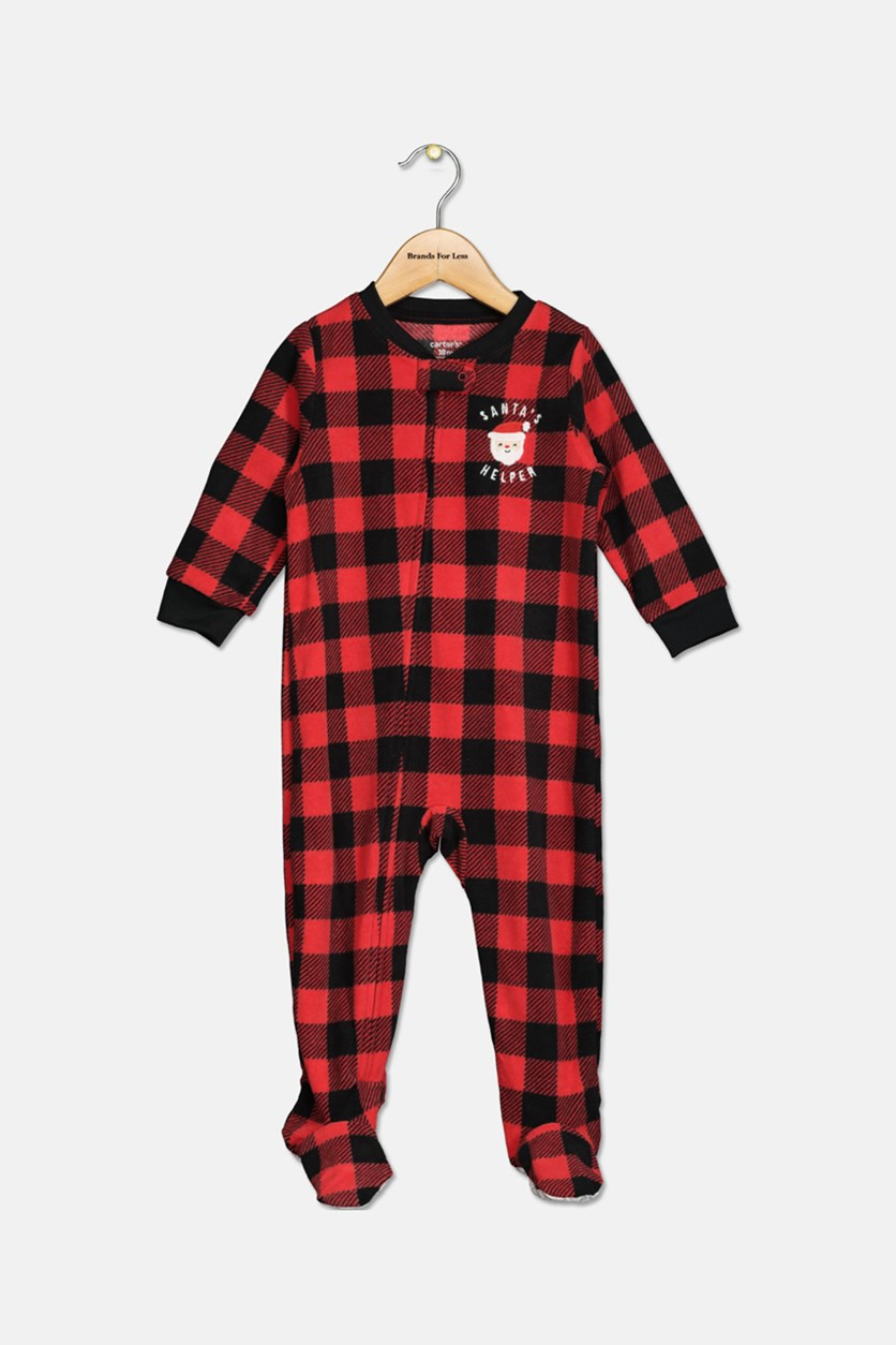 Infant Boys Christmas Check Pajamas, Red/Black