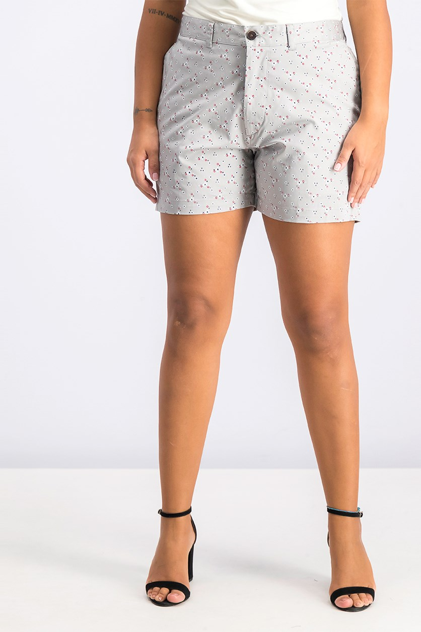 Women's Floral Shorts, Gray Combo