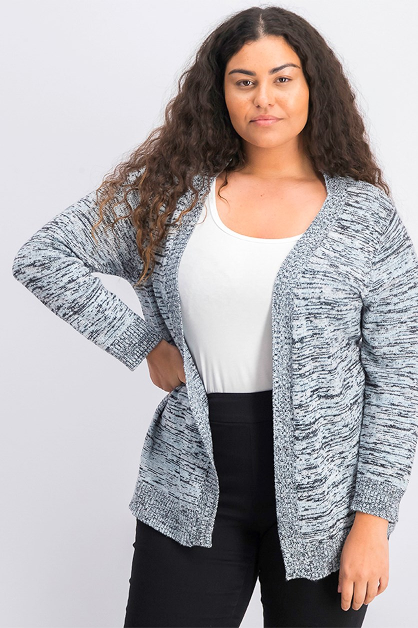 Women's Plus Size Space Dye Cardigan, Black/Blue