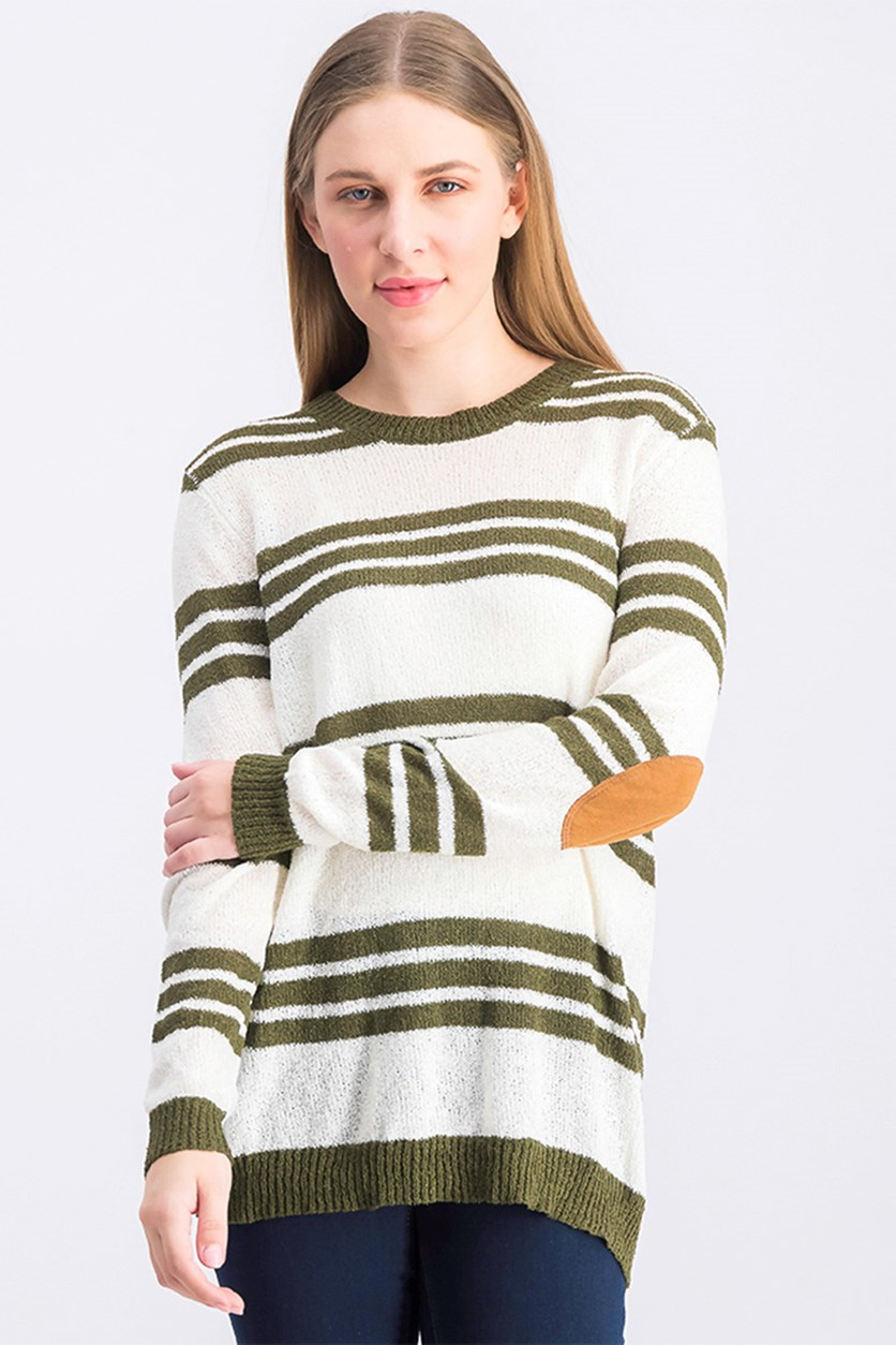 Women's Striped Sweatshirt, Olive/Ivory